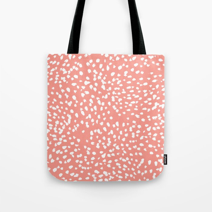 Coral and white minimal painted dots pattern dotty print decor for minimal home office dorm college Tote Bag