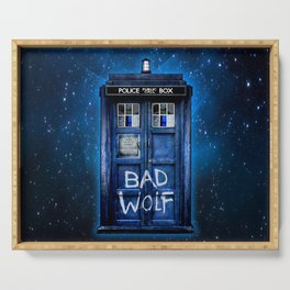 Phone box doctor with Bad wolf graffiti Serving Tray