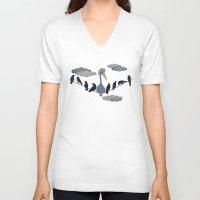 "pixar V-neck T-shirts featuring For ""The Birds"" by Robert Scheribel"