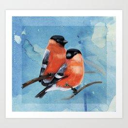 Bullfinches, watercolor Art Print