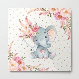 Boho Floral Elephant - Pink & Faux Gold Metal Print
