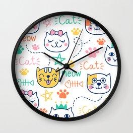 Cats with ribbon, Cats print, cats decor, kids nursery, fish bones, pattern, Wall Clock