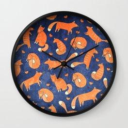 Foxes at Night - Cute Fox Pattern Wall Clock