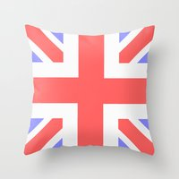 union jack Throw Pillows featuring Union Jack by M Sandra