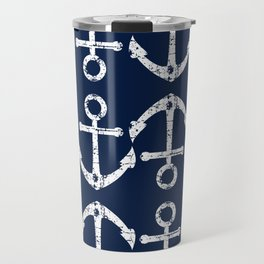 Distressed Anchors Maritime Pattern in White and Nautical Navy Blue Travel Mug