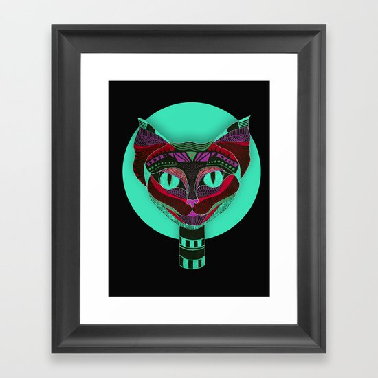 Black CAT- Black Framed Art Print