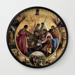 African American Masterpiece 'Civil War - Emancipation Past and the Future' Portrait by Thomas Nast Wall Clock