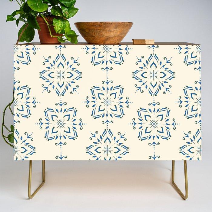 Portuguese_tile_style_ornamental_pattern__blue_on_cream_Credenza_by_BrankaPD__Gold__Walnut
