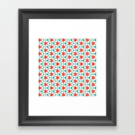 Retro Red Stars Pattern Framed Art Print