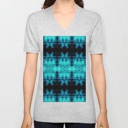 Turquoise Blue Black Diamond Gothic Pattern Unisex V-Neck