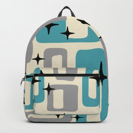 Retro Mid Century Modern Abstract Pattern 223 Blue and Gray Backpack