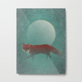 Wild Red Fox At Night with Full Moon Metal Print