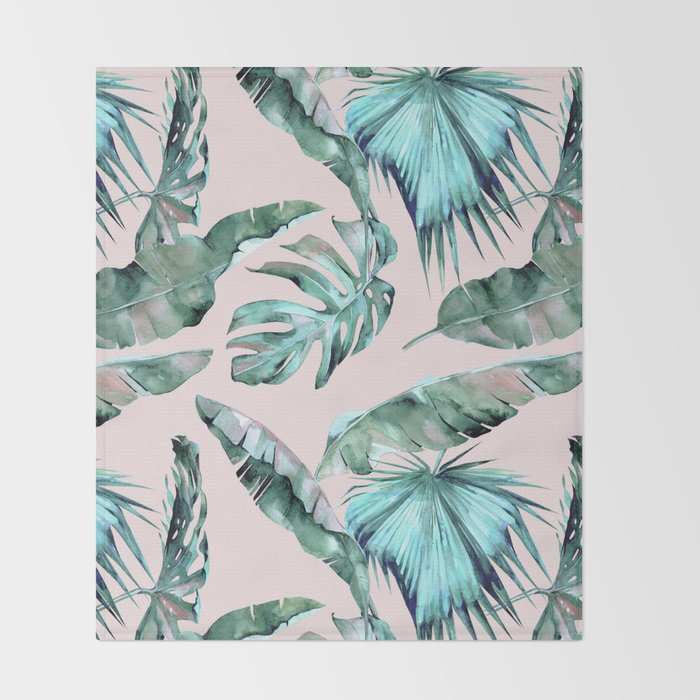 Tropical Palm Leaves Turquoise Green Coral Pink Throw Blanket