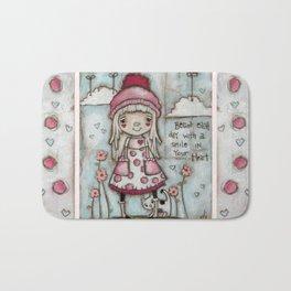 Happy Heart - Motivational Art for Girls Bath Mat