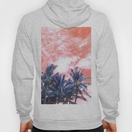 Surreal Wild and Free Palm Trees - Coral & Blue Hoody
