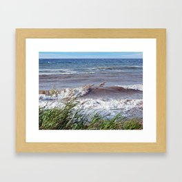 Waves Rolling up the Beach Framed Art Print
