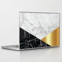 White Marble Black Granite & Gold #944 Laptop & iPad Skin
