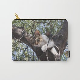 Bi-Color Tabby Cat In Tree 5 Carry-All Pouch