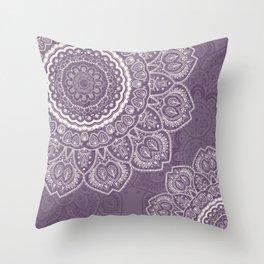 Mandala Tulips in Lavender ad Cream Throw Pillow
