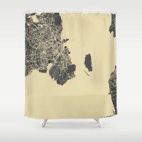 copenhagen Shower Curtains featuring Copenhagen map by Map Map Maps