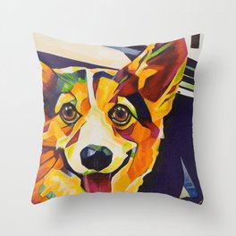 Pop Art Corgi Throw Pillow