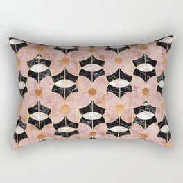 Rose Gold Art Deco Flower Pattern Rectangular Pillow