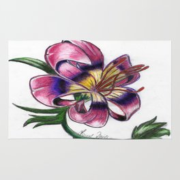 Exotic Lily Flower Rug
