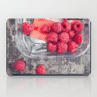 baking iPad Cases featuring Raspberries in plastic container on old metal baking tray by Elisabeth Coelfen