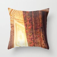 marie antoinette Throw Pillows featuring Antoinette by French Californian