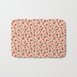 Poppies Hand-Painted Watercolors in Rose Pink on Pale Pink Bath Mat