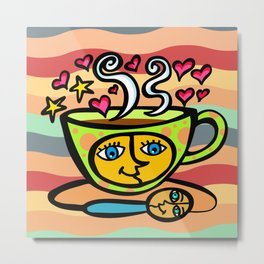 COFFEE CUP AND SPOON Metal Print