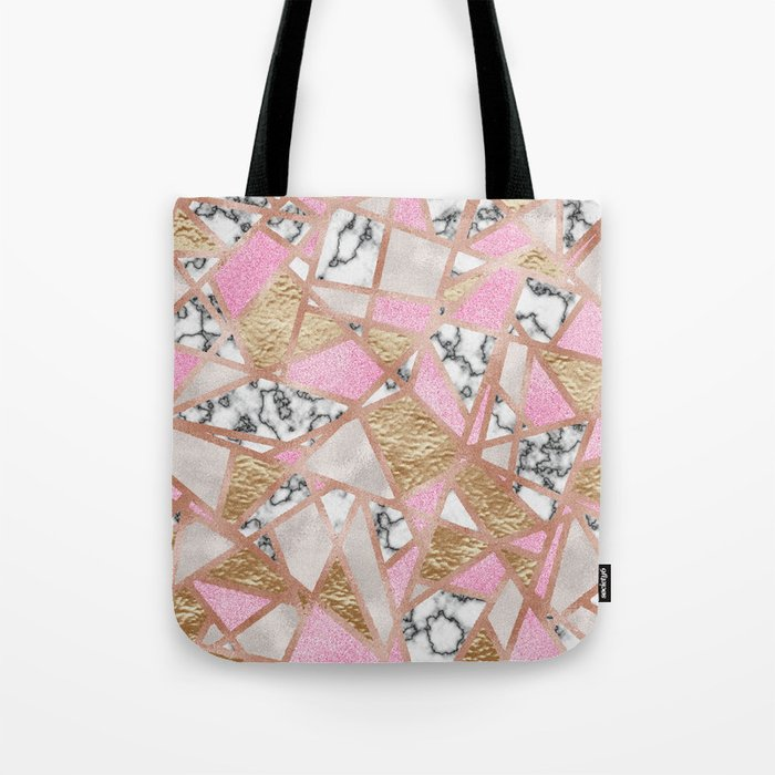 Modern Marble and Golden Texture Tote Bag
