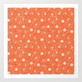 Orange and white floral pattern clemson football college university alumni varsity team fan Art Print