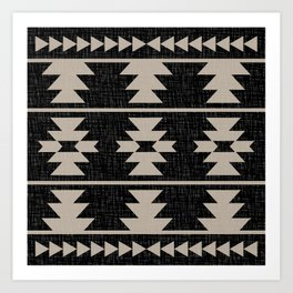 Southwestern Pattern 129 Black and Linen Art Print