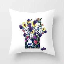 A pot of pansies Throw Pillow