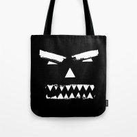 grim fandango Tote Bags featuring Grim by Marcie Grace