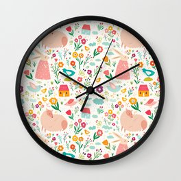 Modern girly pink green hand painted Easter rabbit floral Wall Clock