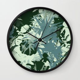 tropical silhouette with orchids and palms tonal Wall Clock