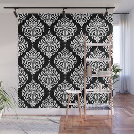 Black Monochrome Damask Pattern Wall Mural