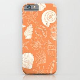 Seashells and Starfish Pattern in Orange Creamsicle iPhone Case