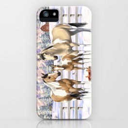 Buckskin Pinto Paint Quarter Horses In Snow iPhone Case