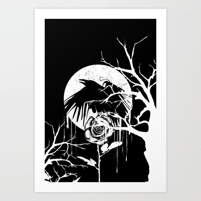 Raven and Rose Art Print