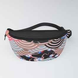 Nature background with japanese sakura flower Cherry, black wave circle pattern Fanny Pack