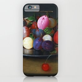 Still Life of Summer Plums on a Plate by Jacob van Hulsdonck iPhone Case