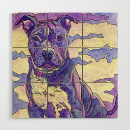 Rainbow Blue Nose Pitbull Wood Wall Art