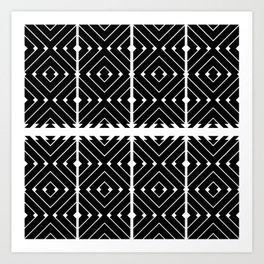 MONOCHROMA Geometrica : Black & White Box Pattern Art Print