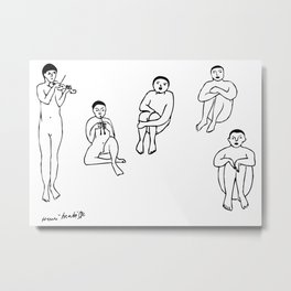 Henri Matisse La Musique (The Music) 1910 Sketch Reproduction for Wall Art, Prints, Posters, Tshirts, Men, Women, Kids Metal Print