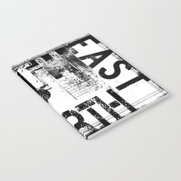 East South North West Black White Grunge Typography Notebook