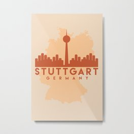 STUTTGART GERMANY CITY MAP SKYLINE EARTH TONES Metal Print