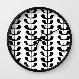 Linocut black and white botanical pattern minimalist home decor nursery trendy leaves pattern Wall Clock
